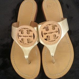 Tory Burch Leather Sandals Tan/Gold
